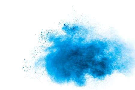 Blue color powder explosion on white background. Stock fotó