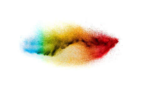 Multi colour powder explosion on white background. Launched colourful dust particles splashing.