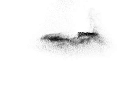 Black powder explosion on white background.Black dust particles splash. Foto de archivo