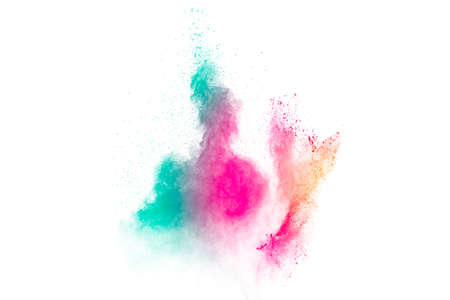 Colored powder explosion. Abstract closeup dust on backdrop. Colorful explode. Paint holi. Foto de archivo - 152530899