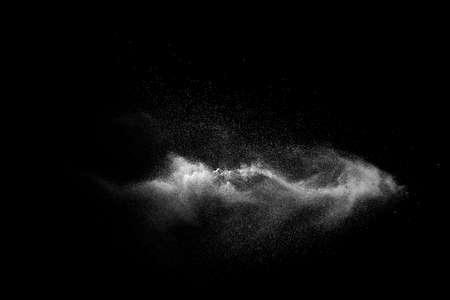 White talcume powder explosion on black background. White dust particles splash. Foto de archivo - 153213759