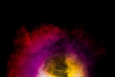 Abstract of colored powder explosion isolated on black background. Foto de archivo - 153213847