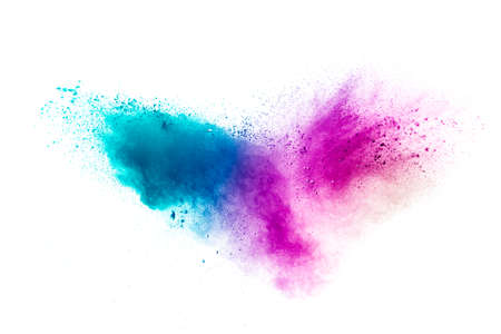 Abstract multicolored powder splash on white background.Freeze motion of color powder exploding. 免版税图像