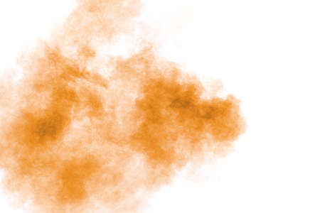 Brown powder dust cloud.Brown particles splattered on white background. 免版税图像