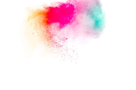 Multicolored powder explosion on white background. Foto de archivo