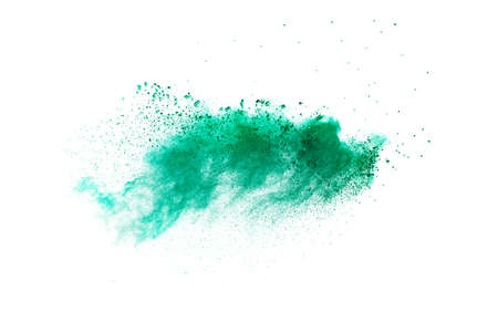 Splash of green colored powder on white background.Green powder explosion. Foto de archivo