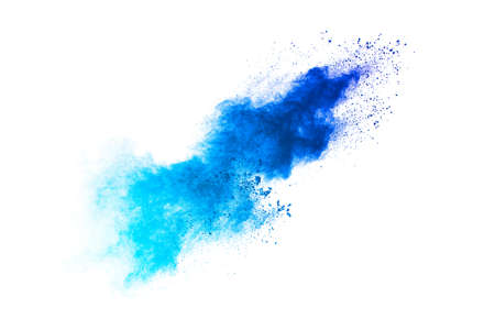 Splash of blue colored powder. Blue particles splatter on white blackground.