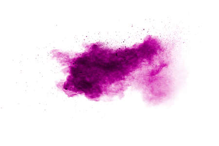 Pink dust splatter on background.Pink powder explosion on white background. Foto de archivo
