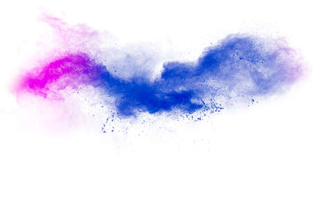 Abstract blue pink powder explosion on white background.
