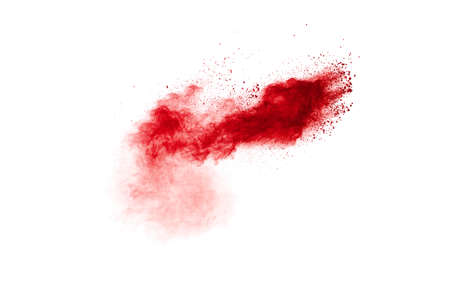 Red powder explosion cloud on white background. Foto de archivo