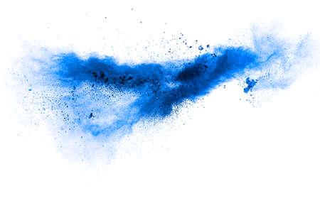 Blue color powder explosion cloud on white background.Blue dust particles splash on background.