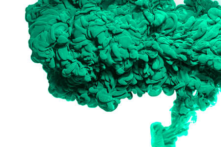 Green acrylic ink in water.Abstract paint splash cloud isolated on white background. 免版税图像