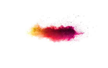 Abstract red powder explosion on white background.