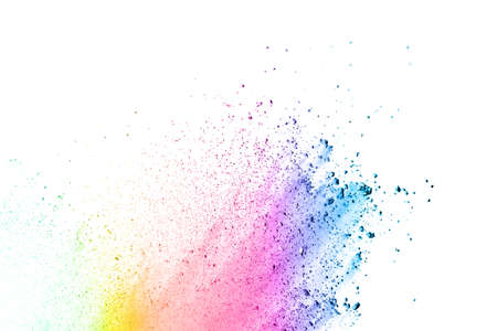 The explosion of colored powder. Beautiful powder fly away. The cloud of glowing color powder on white background