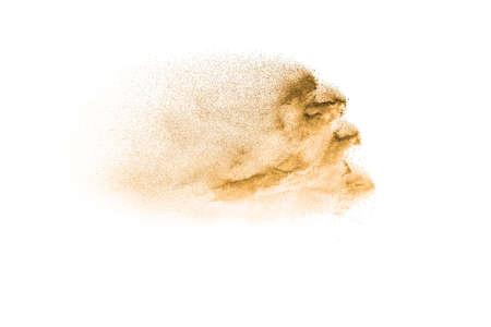 Brown color sand splash against white background.Dry river sand explosion.