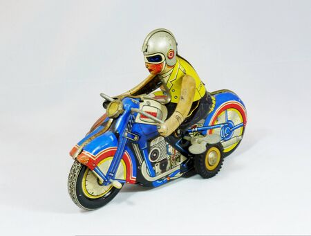 tin: Tin toy Motorcycle Stock Photo