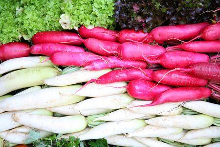 green leafy vegetables: Radish and vegetables  pink white radish