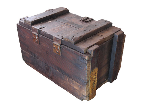 wooden crate: military wooden crate   Old wooden crate  isolated white