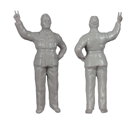 plastic soldier: Plastic model military figures  isolated  white Stock Photo
