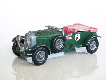 litre: Vintage racing car toy  Bentley 4½ Litre  British sports car toy model Editorial