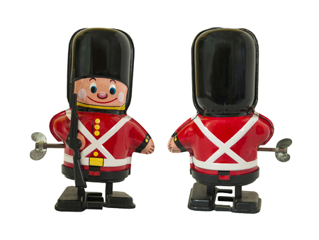 Soldier guardsman tin toy , wind up toy / Isolated white