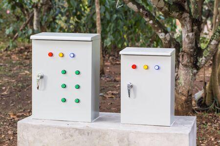 control box: Electric control box in the garden
