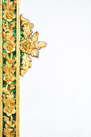 Traditional Thai style pattern decorative isolated on white background, stucco gold paint in temple,Thailand.