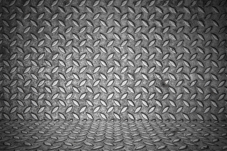 checkerplate: seamless metal texture, Table of steel sheet with metal floor inside