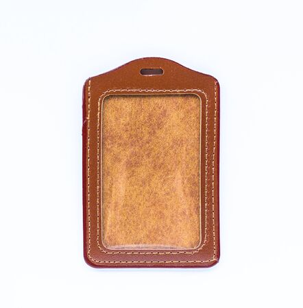 a70bd55036 Brown leather label tag with string isolated on the white background.