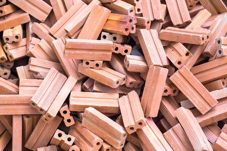built: pile of red bricks for built the house Stock Photo