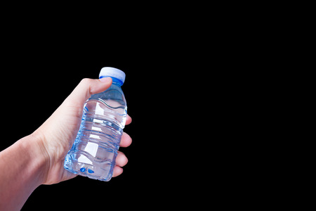 Water bottle with Hand on black Background