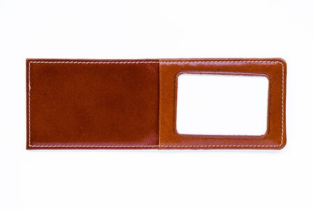 leather label: Brown leather label tag with string, isolated on the white Stock Photo