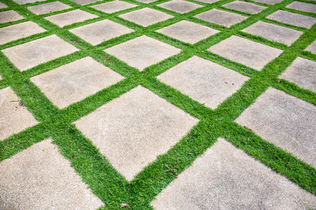 Stone pathway with grass in a green garden Stock Photo