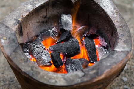 stove fire: Old fireplace, old stove, fire
