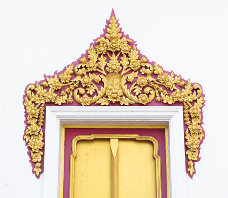 thai temple: The architecture of the window, thai paint on windows at wat or temple Thailand. Stock Photo