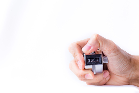 tally: Hand man hold tally counter isolated white background.