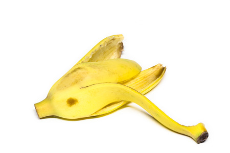 banana skin: empty banana skin, banana peel on white background.