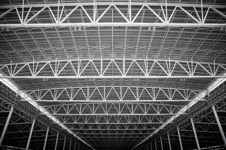 metal structure: metal roof interiors structure of modern building