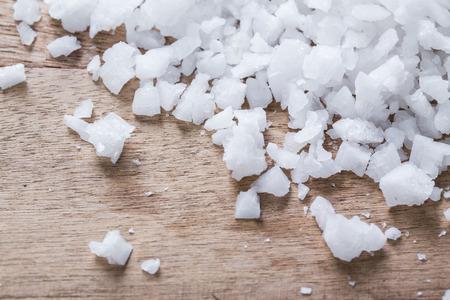salt: Sea salt on wooden table