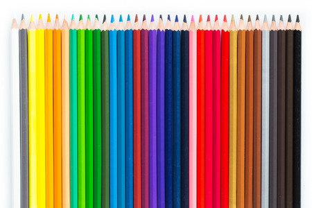 Colorful pencil isolated on white background. Individuality concept.