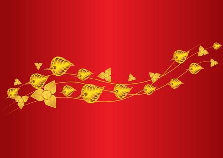 Gold leaf fly mesmerize and bo leaf thai leaf Vector illustration.