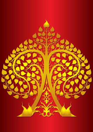 leaf poo Buddha thai style Vector illustration.