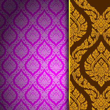 thai pattern background vintage vector