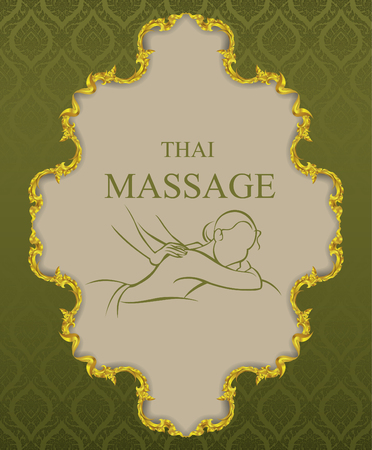 thai massage vintage background vector illustrator Vettoriali