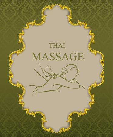 thai massage vintage background vector illustrator Ilustração