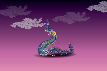Naka Thai vintage blue big snake Vector illustration.