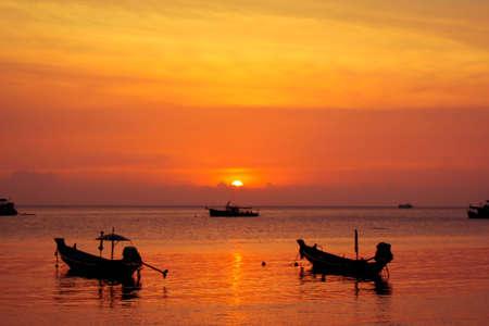 koh tao: sunset at gulf of Thailand, Koh Tao Stock Photo