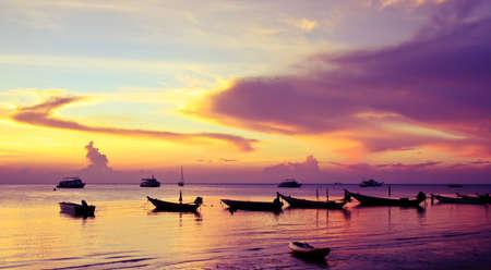 koh tao: ฺิboats at the island coast, Koh Tao Stock Photo