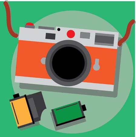 Retro film camera with film 35mm Çizim
