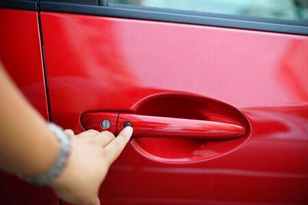 keyless: man lock the car Stock Photo